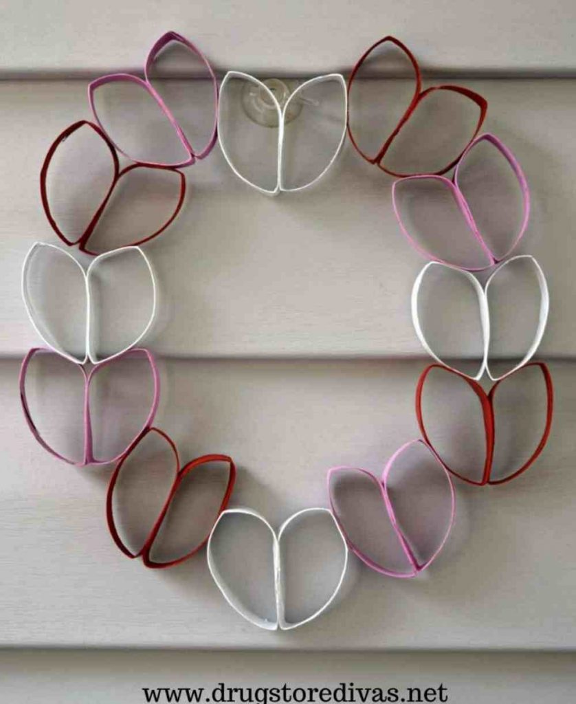 Valentines Wreath made with toilet paper rolls