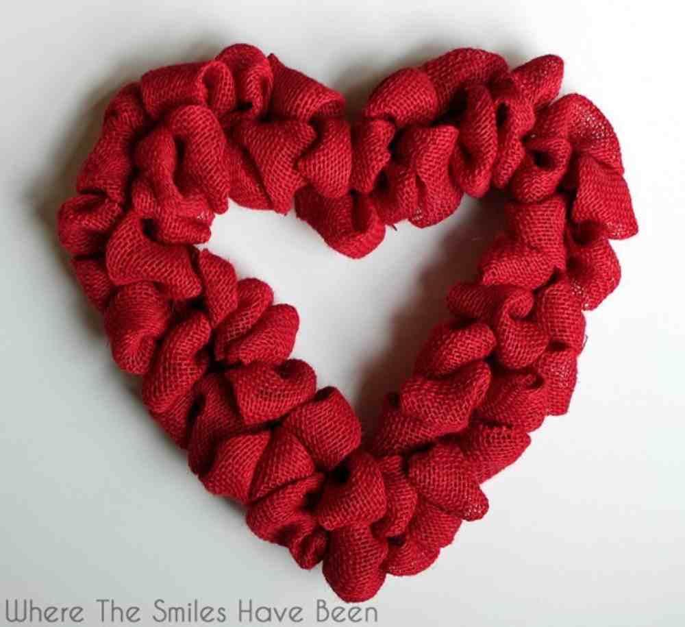 red burlap heart shaped wreath