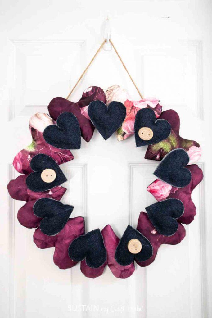 Valentine Wreath Decor with Scrap Fabric Hearts