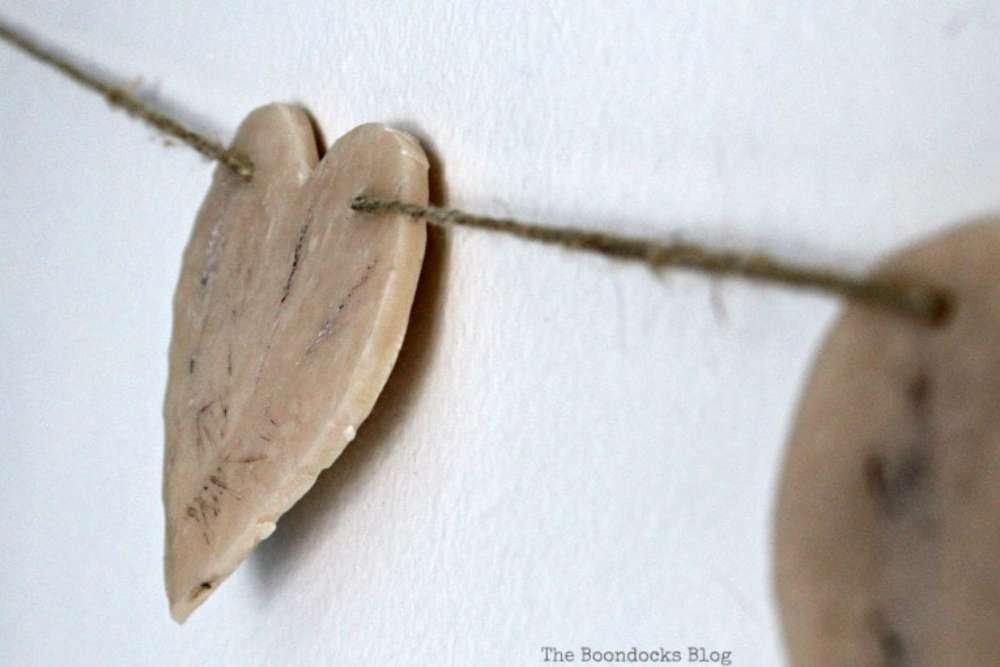 Garland made with clay hearts for Valentine's Day decor