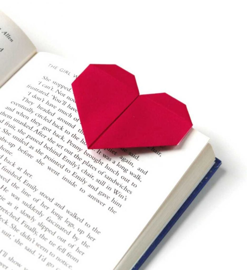 Valentine Craft for Adults - Origami Heart Shaped Bookmark
