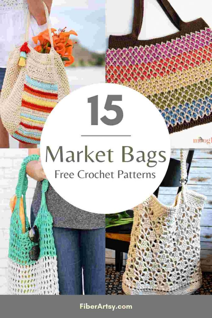 15 Free Crochet Patterns for Market Bags and Totes