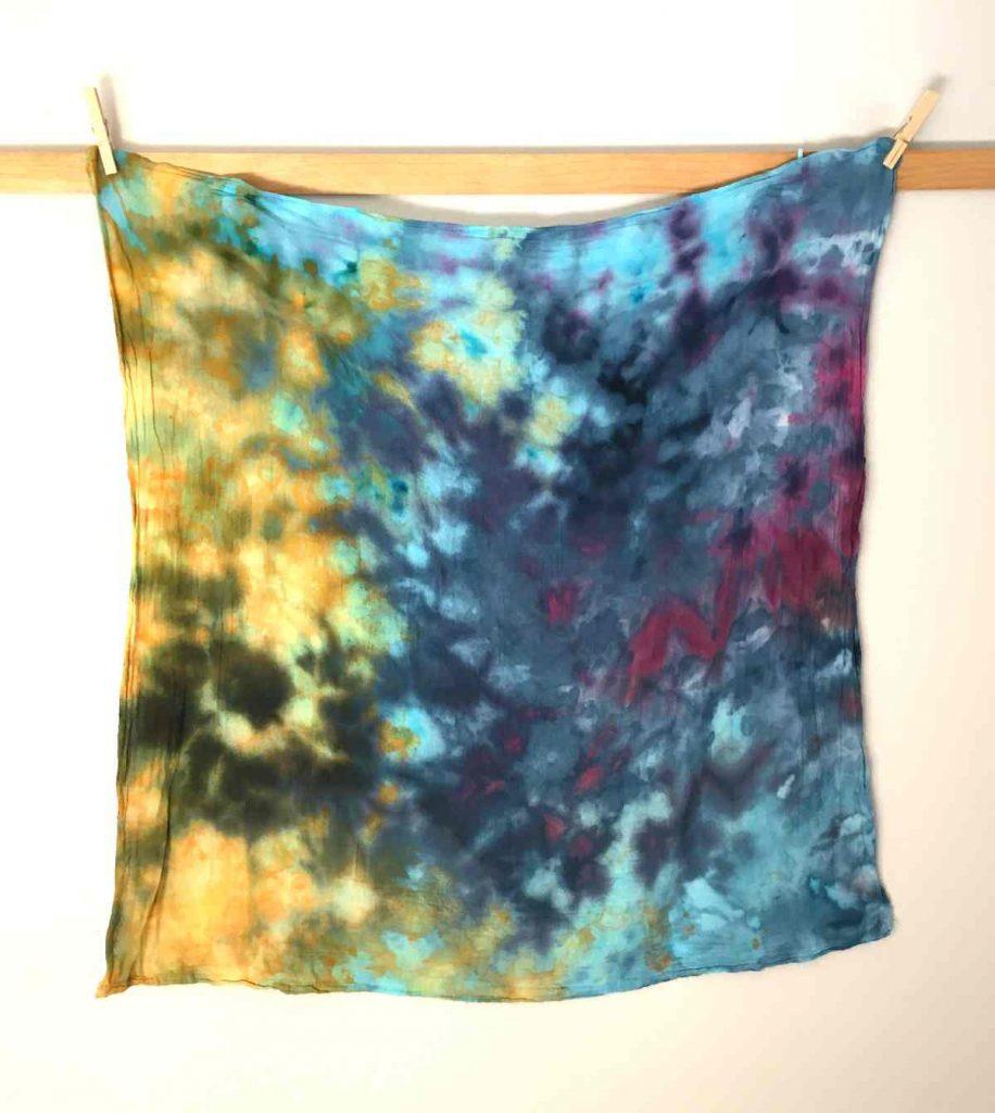 Blue Yellow Purple Ice Dyed Cotton Fabric