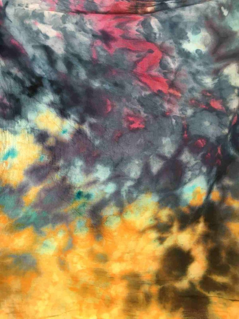Close up of Ice Dyed Cotton Fabric