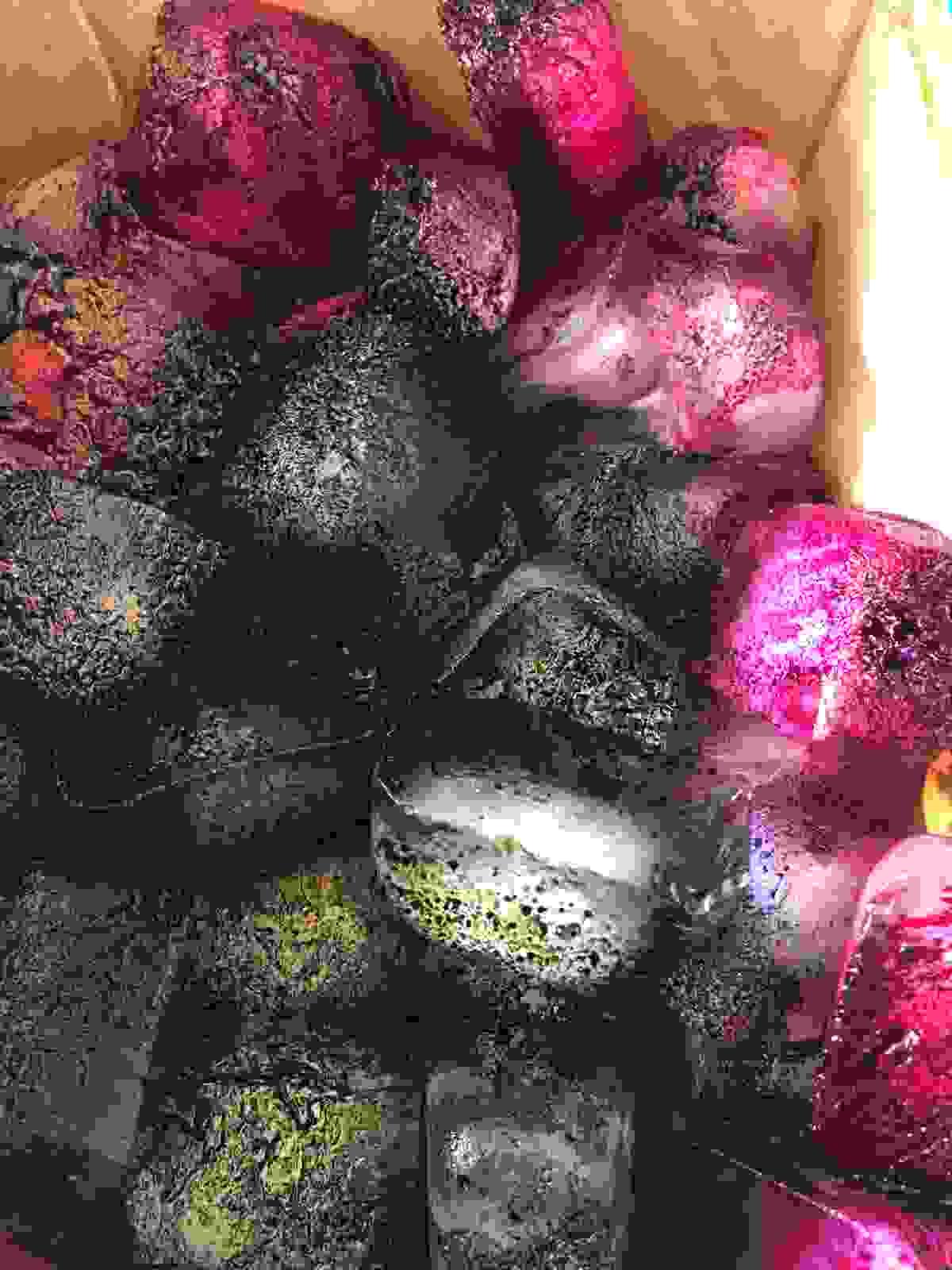Procion Dye melting on the ice cubes