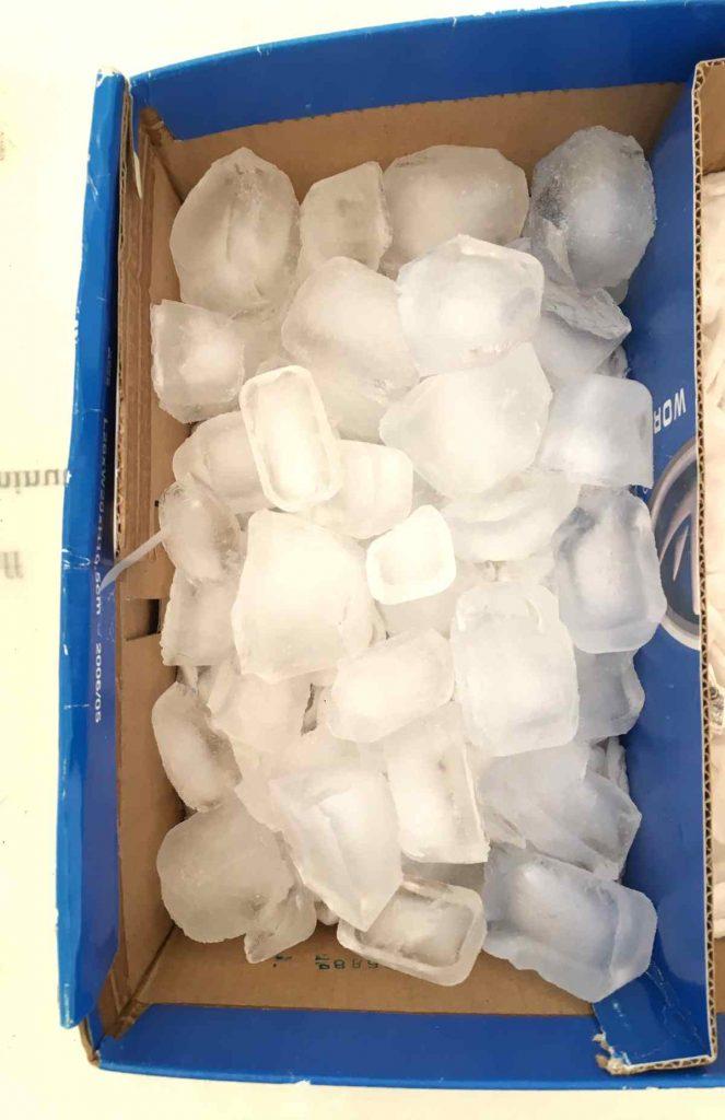 ice in cardboard box