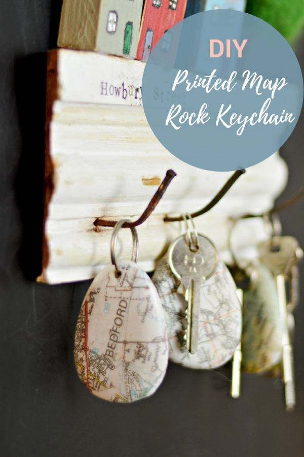 Printed Map Rock Keychain for Dad