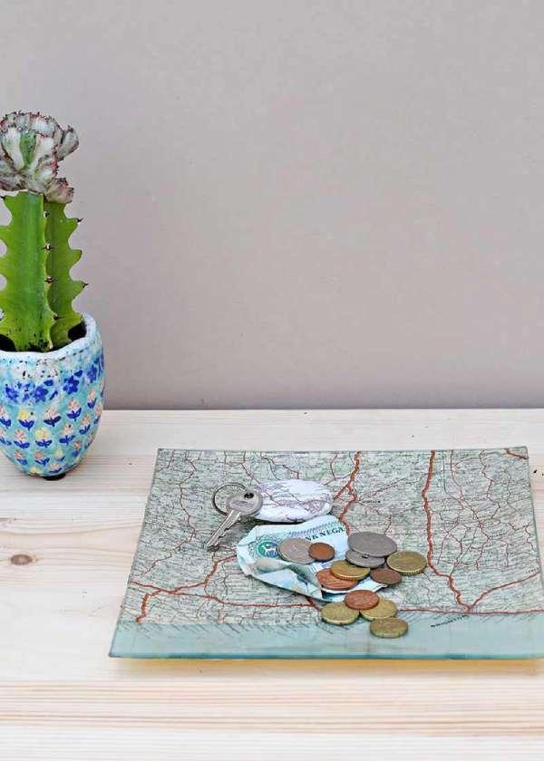 Decoupage Map Glass Tray