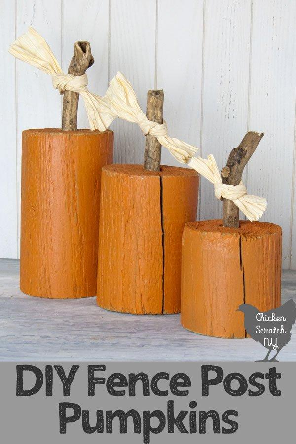 DIY Fence Post Pumpkins