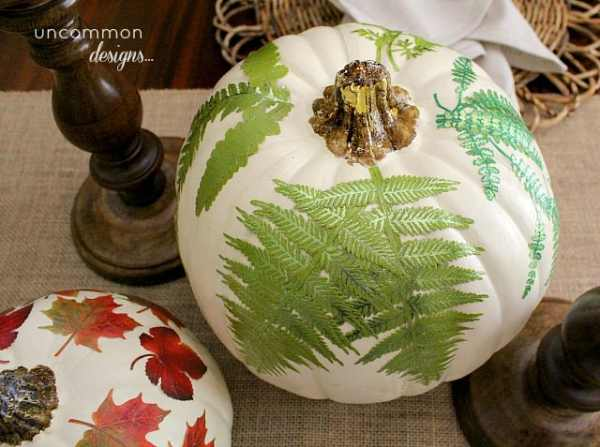 Pumpkin decorated with mod podge