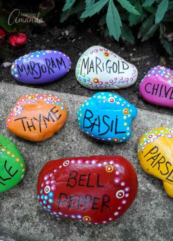 Painted Rock DIY Plant Markers and Labels