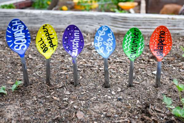 Creative Plant Markers made with Spoons
