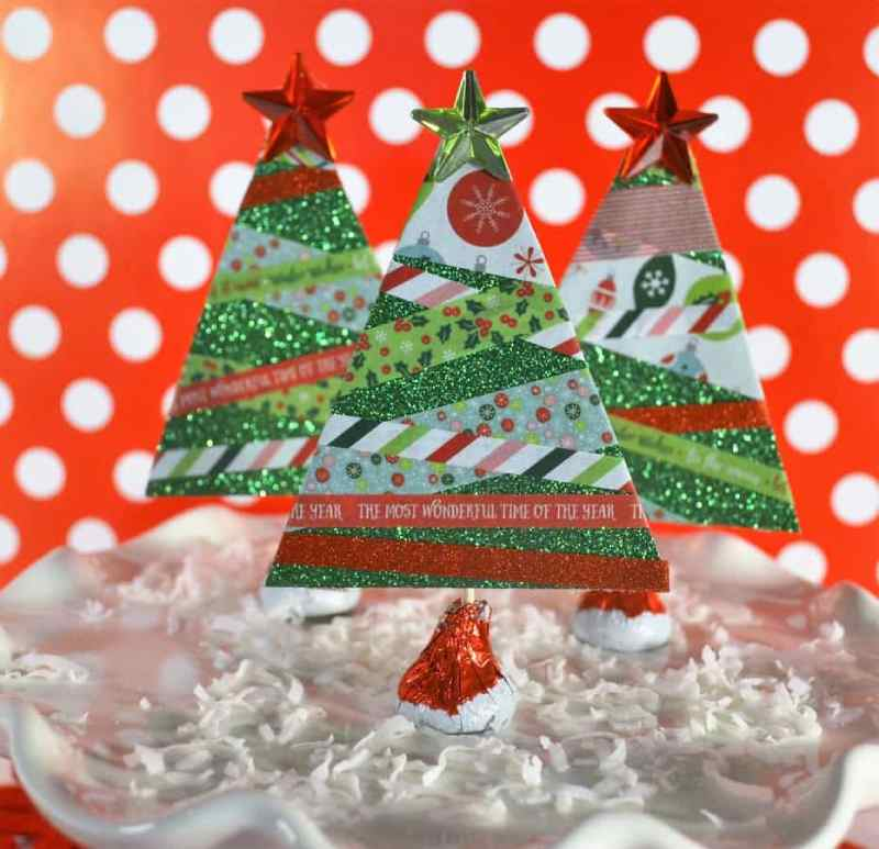 Paper and Washi Tape Christmas Trees - Kids Christmas Craft Idea