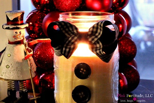 Handmade Primitive Peppermint Candle