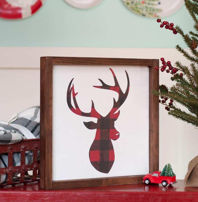 DIY Deer Head Farmhouse Style Sign Easy Christmas Decor