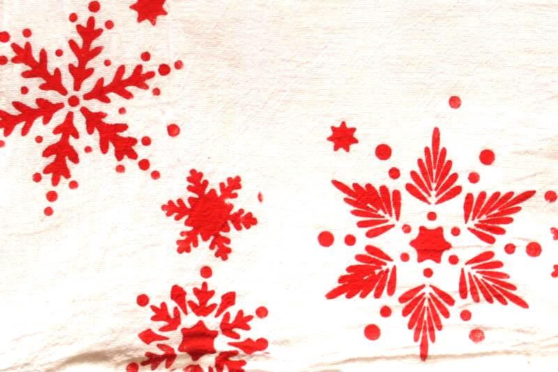Snowflake Stenciled Kitchen Tea Towel