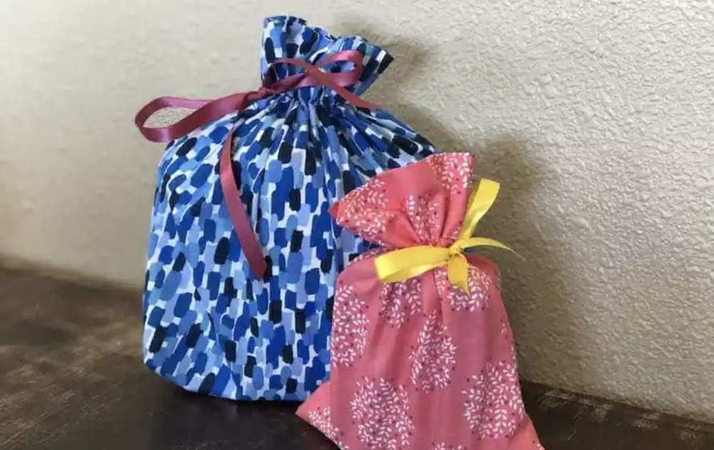 Easy Sew Fabric Drawstring Gift Bag