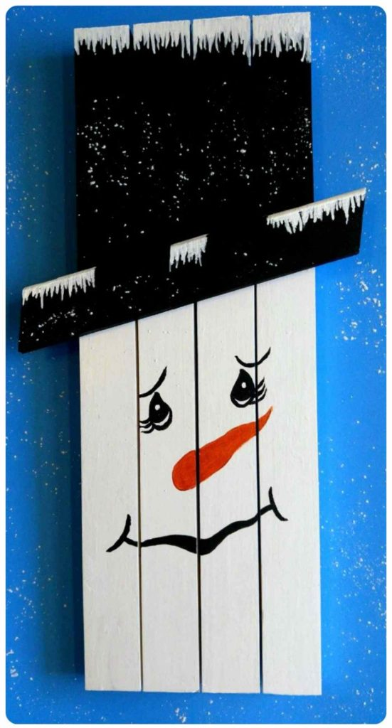Snowman Wallhanging made of scrap wood