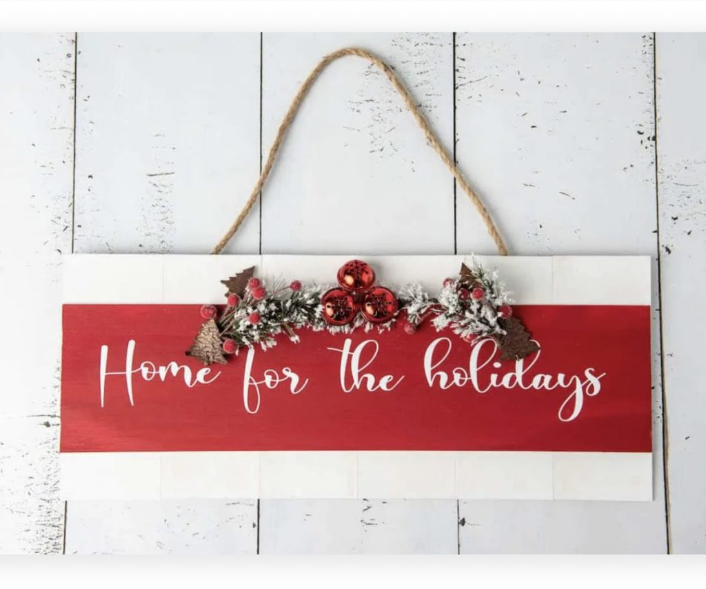welcome sign for Christmas