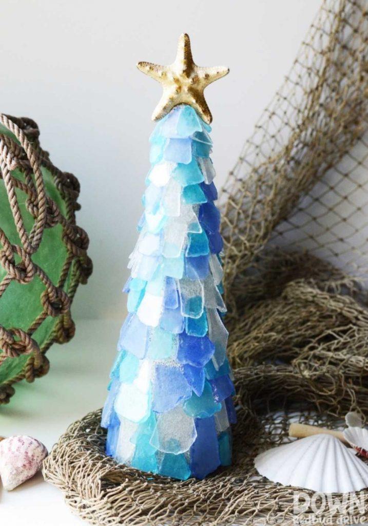 handmade Christmas tree decoration made with sea glass
