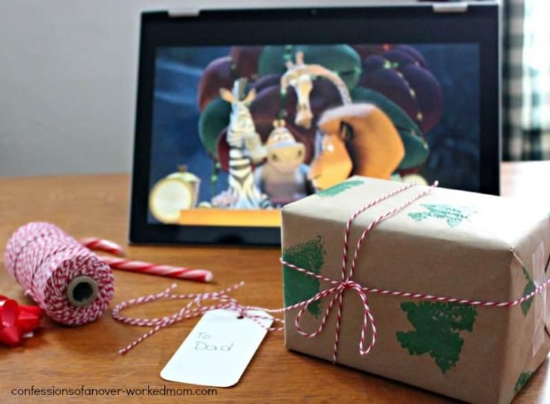 Homemade sponge painted craft paper wrap