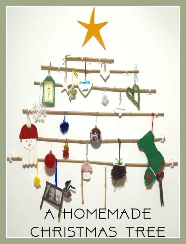 Handmade Twig and Stick Christmas tree wall decoration