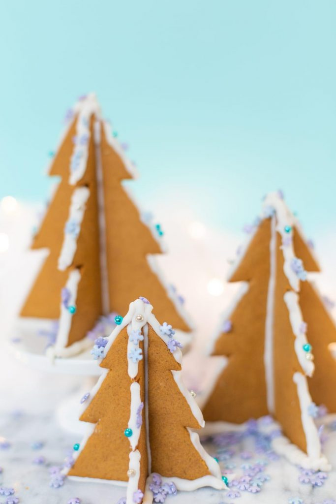 homemade gingerbread Christmas trees decorations