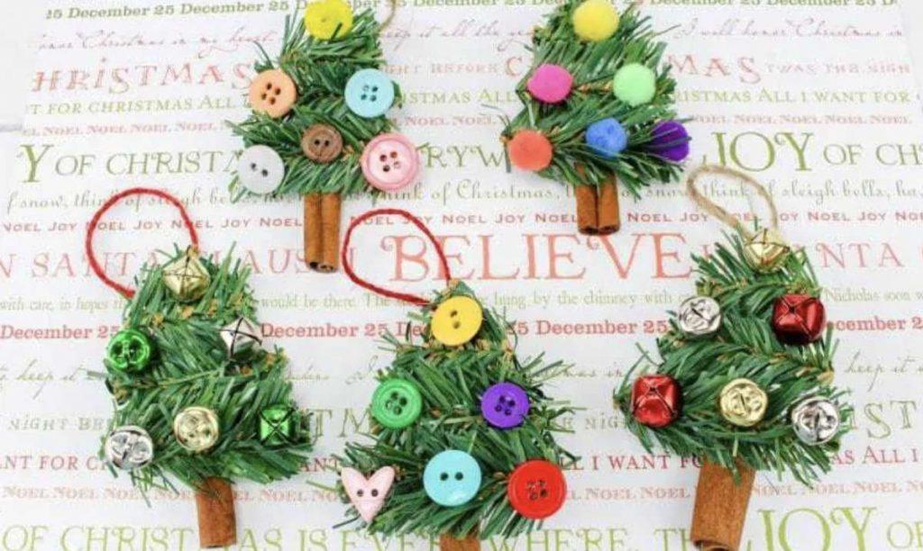 handmade mini Christmas trees ornaments
