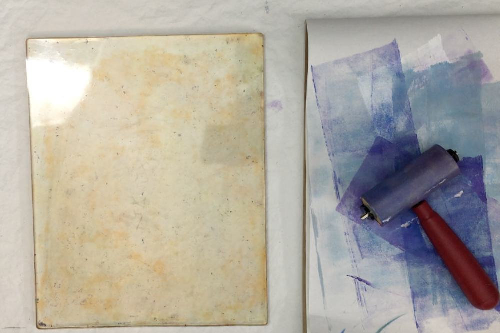 Set up the gel plate and scrap paper