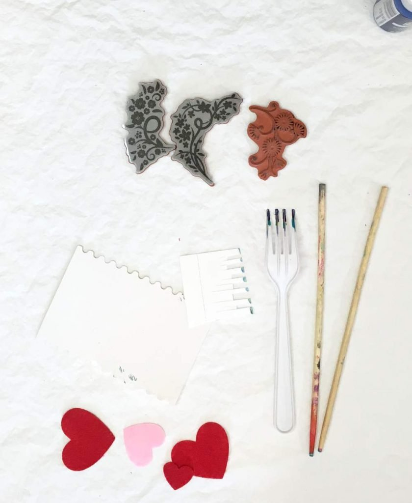 homemade and gathered tools for gel printmaking