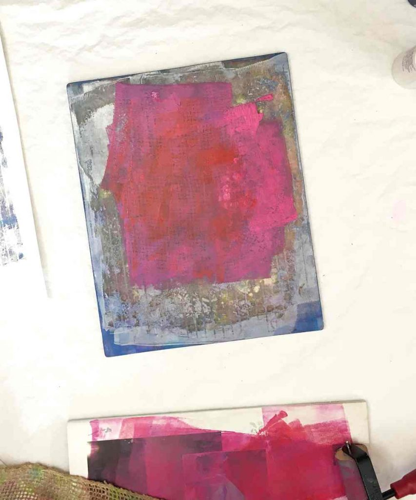 distribute paint with brayer