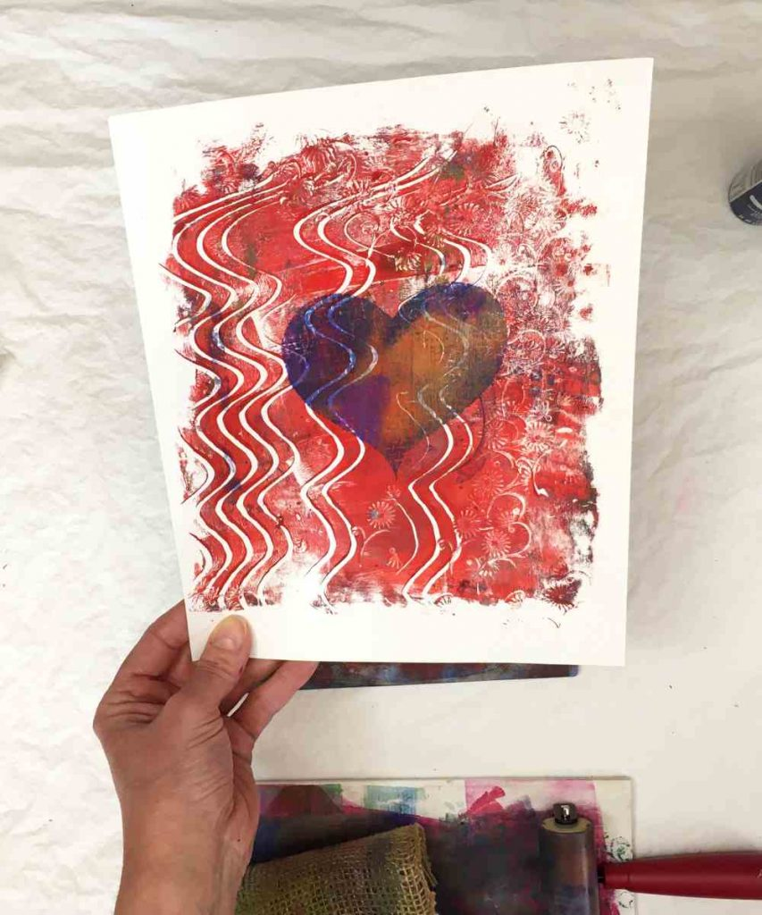 how to use a gel press to create valentine cards