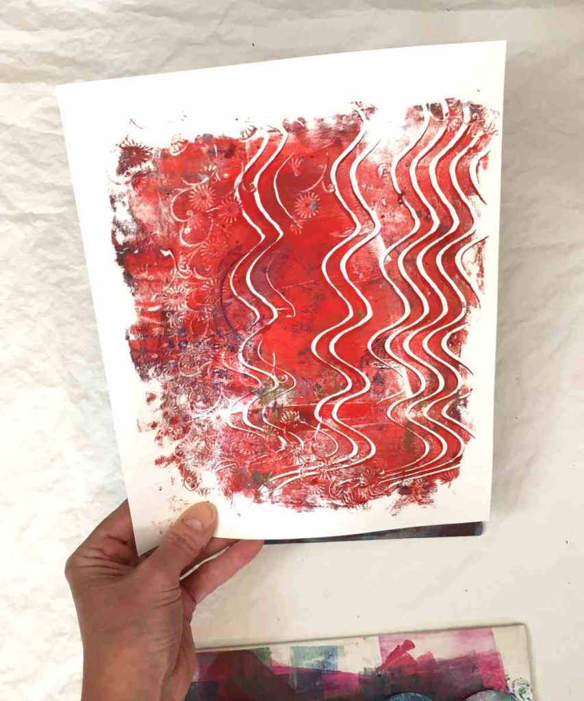 Paper printed with a gel press