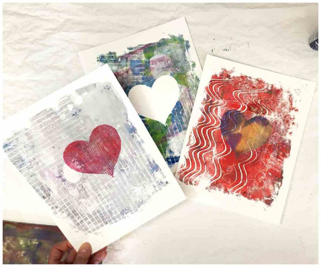 gel printed paper for greeting cards