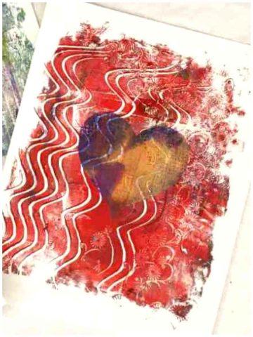 Gelli printing Valentine Cards