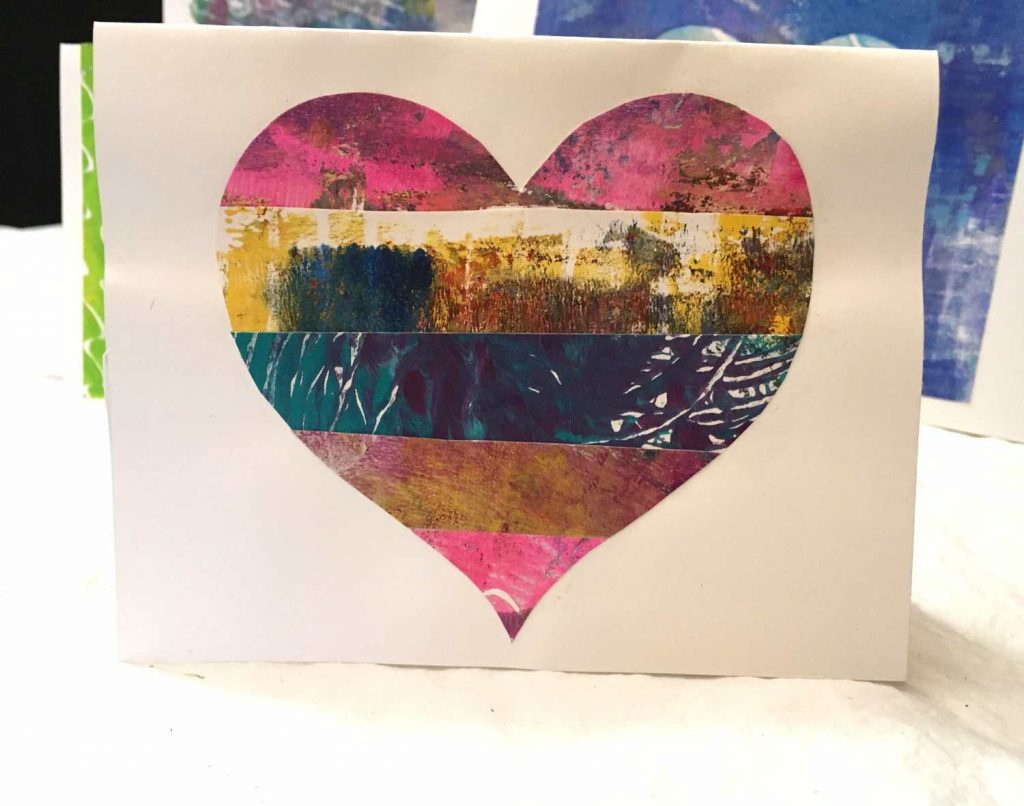 Valentine card made with strips of gelli printed papers