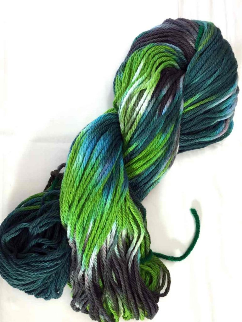 Hand dyed cotton yarn