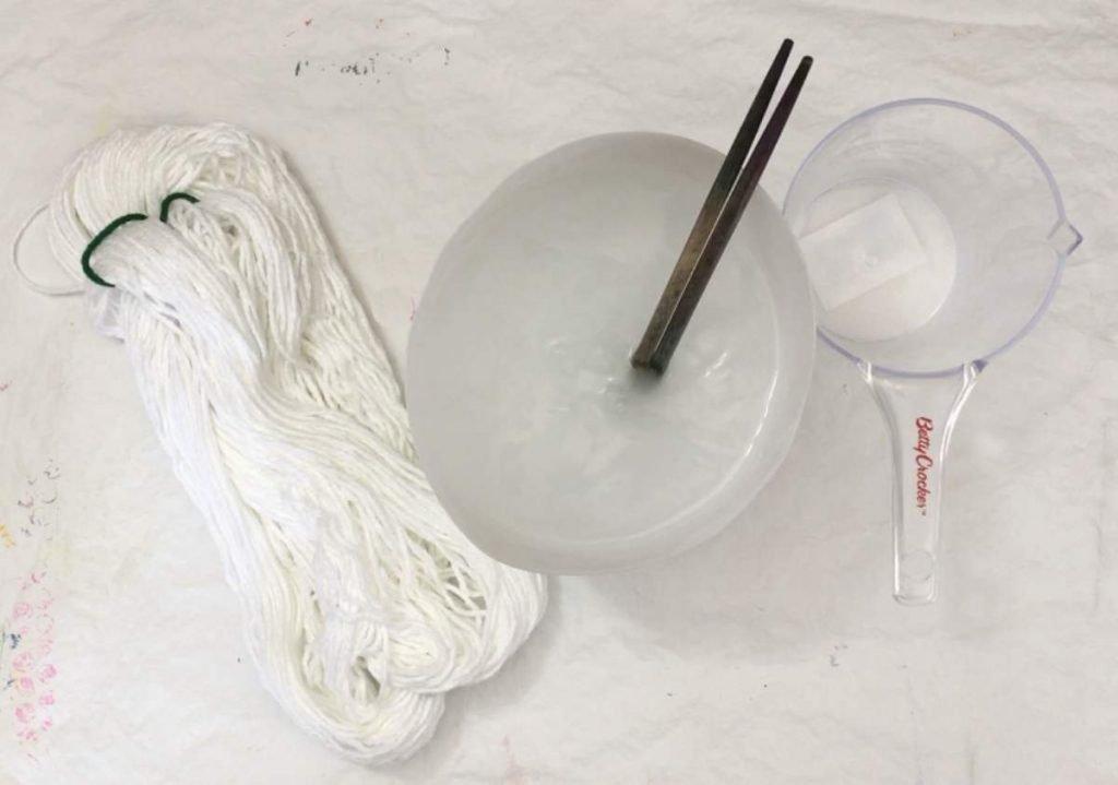 Cotton yarn soaking in soda ash