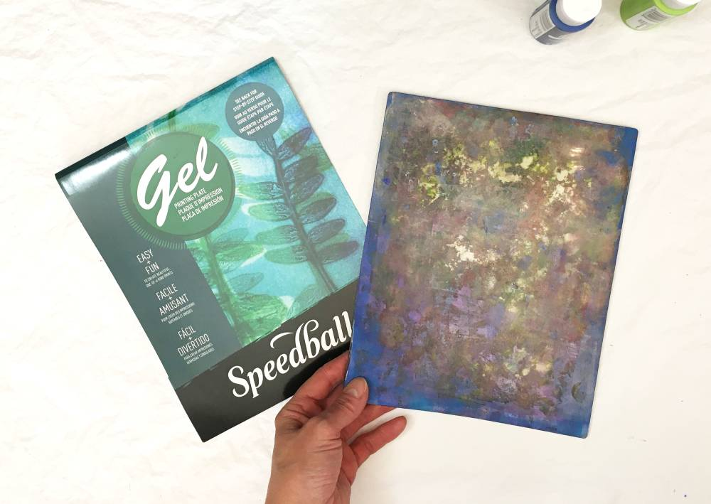 Speedball Gel Printing Plate for making gel printed cards for valentines