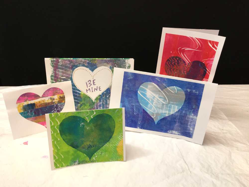 Valentine's greeting cards made out of gel printed papers