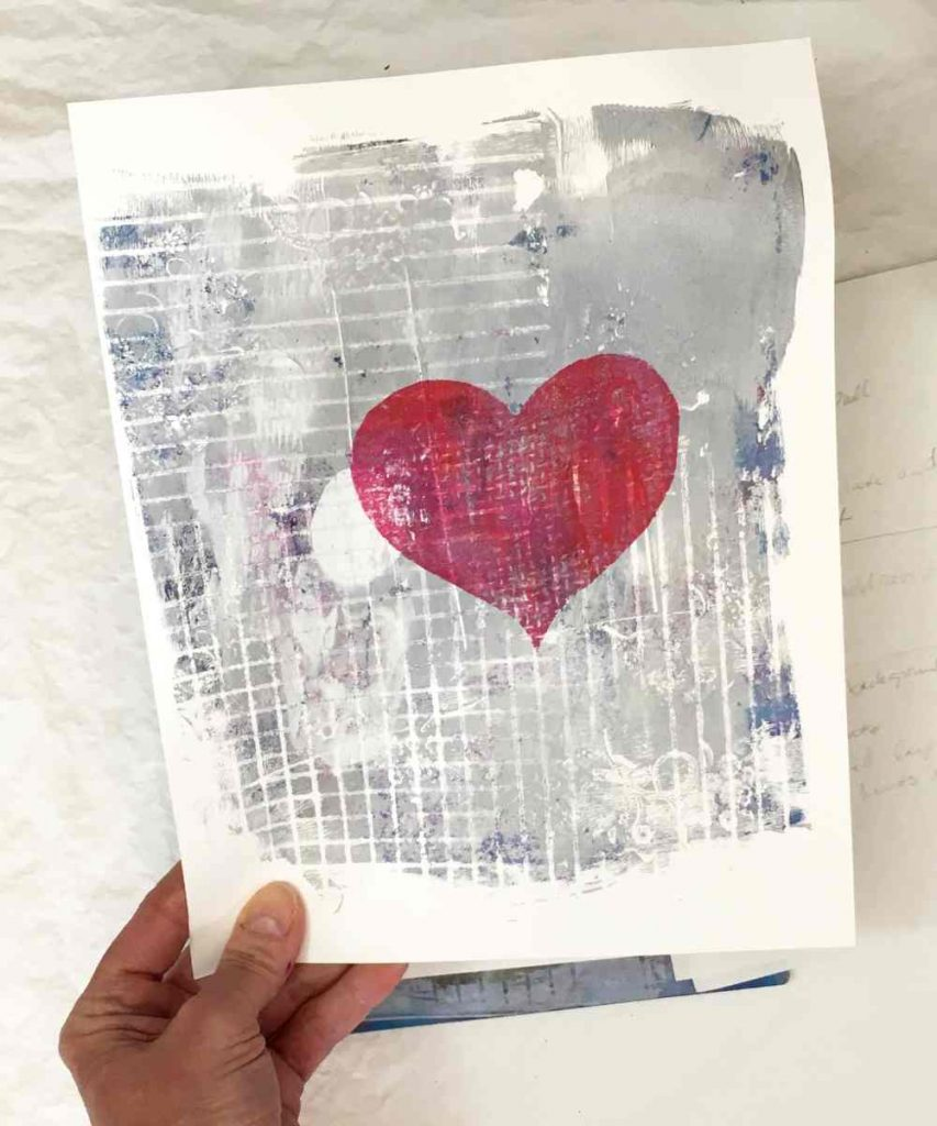 Heart shape printed on card stock with a gel press plate