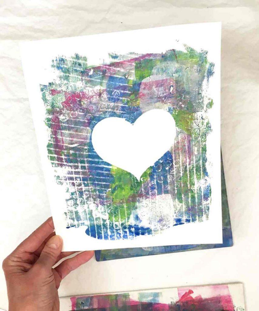 gel printed valentine card made with a resist