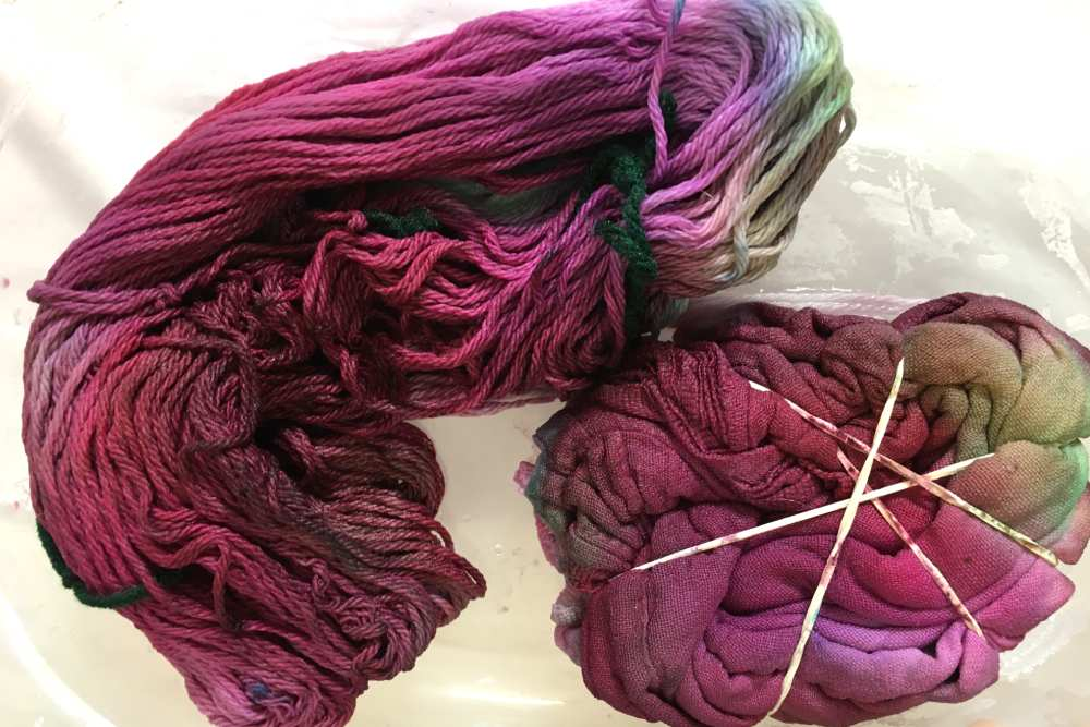 Ice dyed cotton kitchen towel and cotton yarn