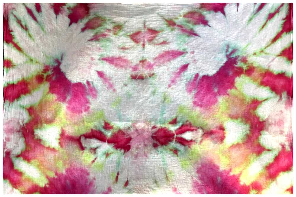 Cotton Kitchen Towel Ice Dyed with Fiber Reactive Dyes