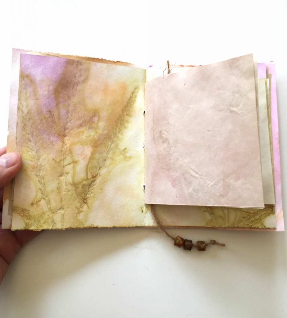 inside cover of the hand made eco dyed journal
