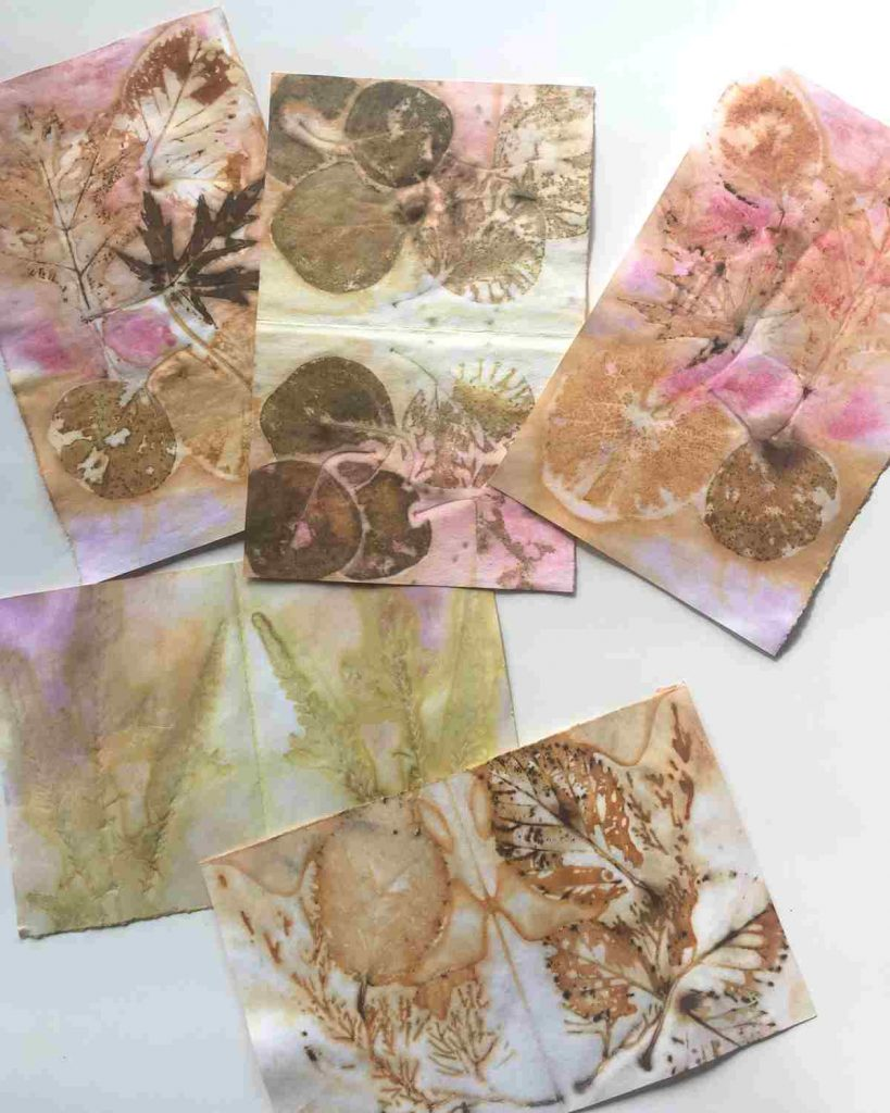 Eco Printed Papers for making a journal