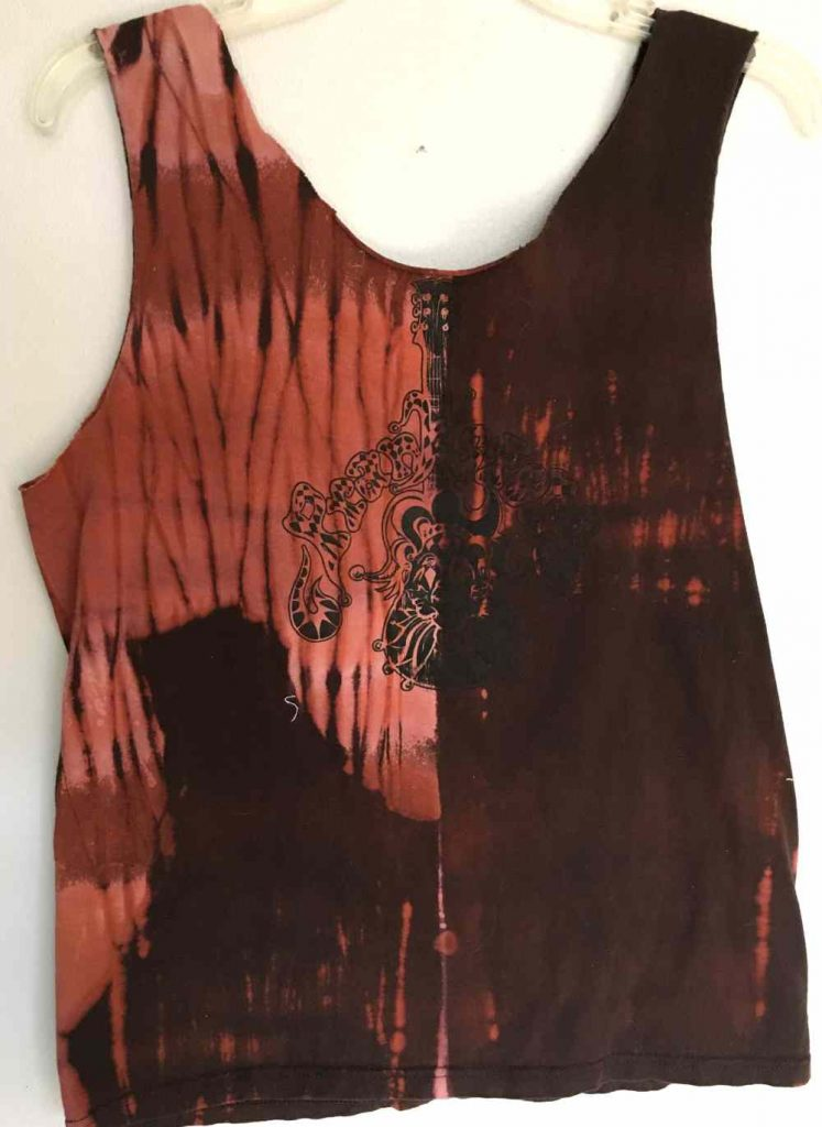 front of a pole wrap tie dyeing shirt