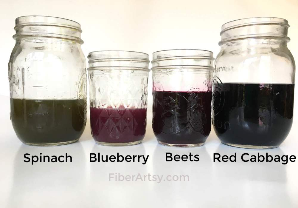 Natural food dye made from blueberries beets and red cabbage