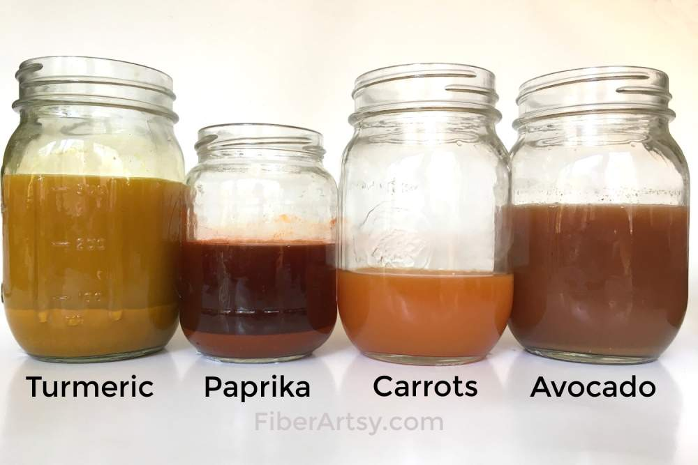 How to make natural dyes from food like turmeric, paprika, carrots and avocado