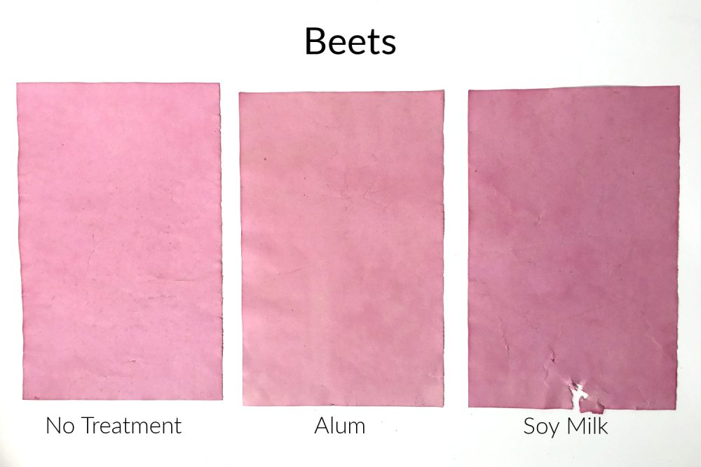 Papers colored with natural beets